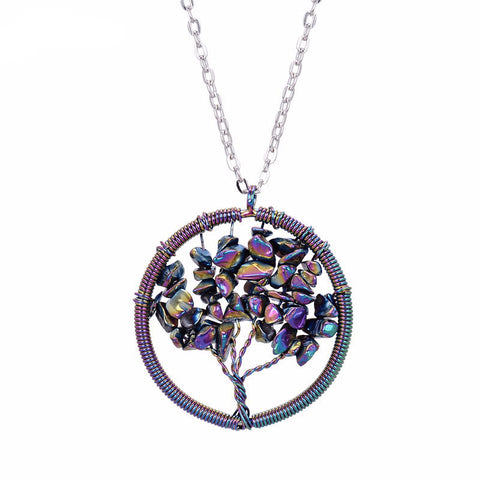 Titanium Flame Rainbow Aura Quartz Tree Of Life Pendant
