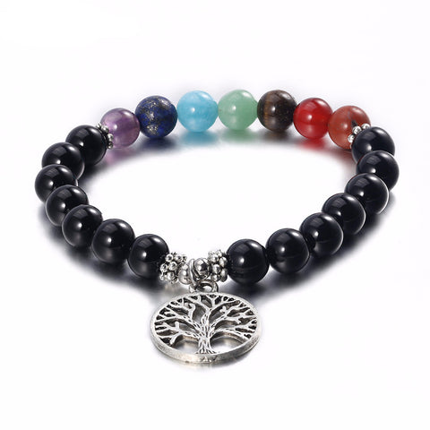 7 Chakra Black Carnelian Tree of Life Bracelet