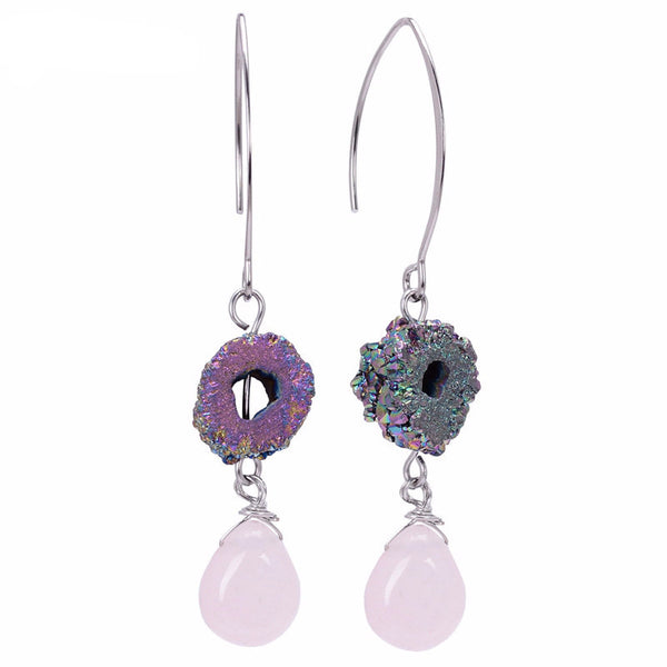 Titanium Rainbow Dlame Aura Quartz and Rose Quartz Dangle Earrings