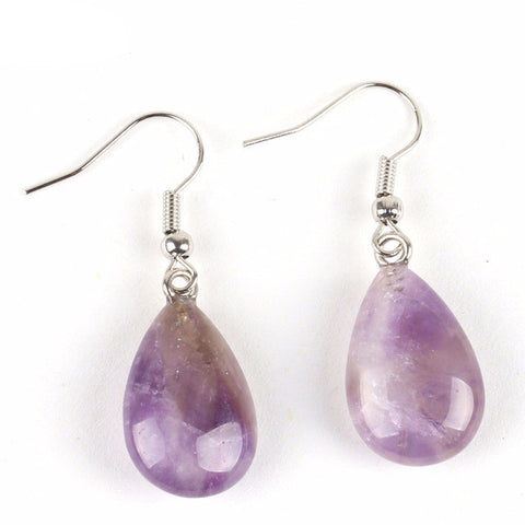 Amethyst Tear Drop Polished Stone Earrings