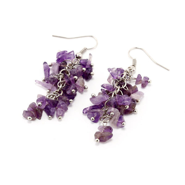 Amethyst Cluster Dangle Earrings, amethyst earrings, amethyst jewelry