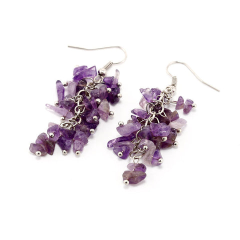 Amethyst Cluster Dangle Earrings