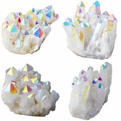 Angel aura rainbow quartz geode, healign crystal decor, points
