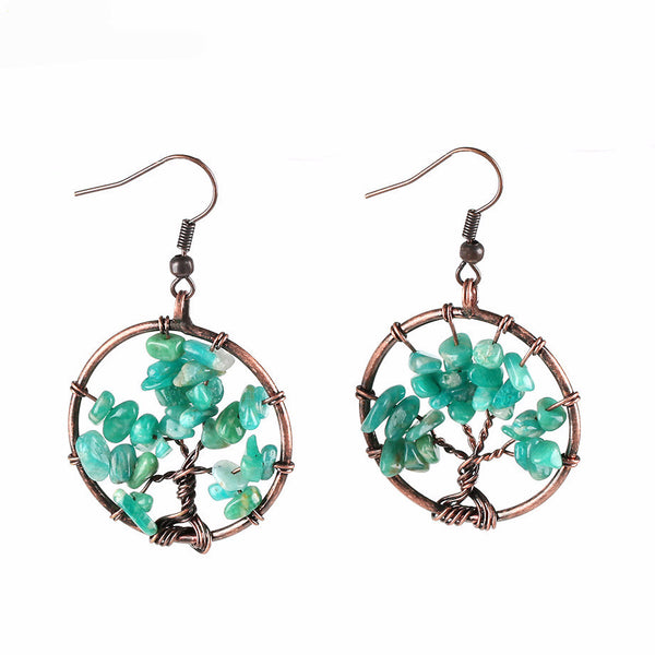 Amazon Stone Tree of Life Wire Wrap Earrings