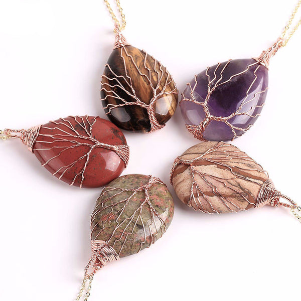 Earthy Wire Wrapped Water Drop Stone Tree of Life Necklace