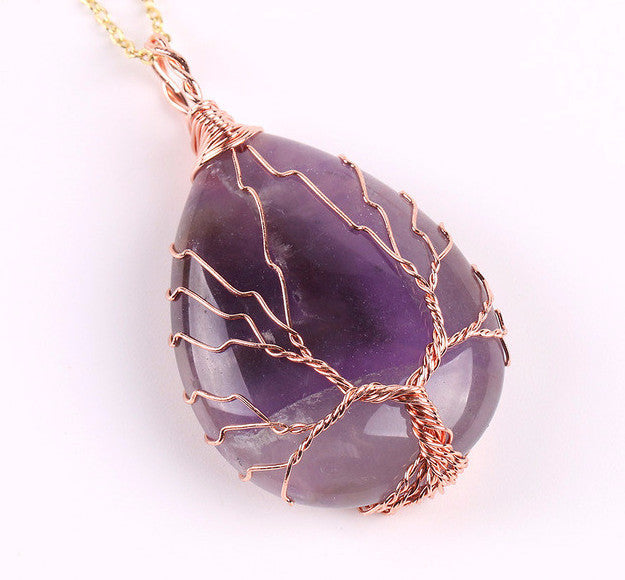 Amethyst Wire Wrapped Tree of Life earthy Necklace