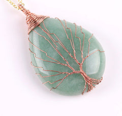 Green Aventurine Wire Wrapped Tree of Life earthy Necklace