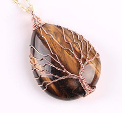 Tiger's Eye Wire Wrapped Tree of Life earthy Necklace