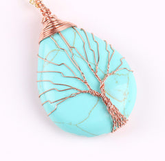 Turquoise Wire Wrapped Tree of Life earthy Necklace