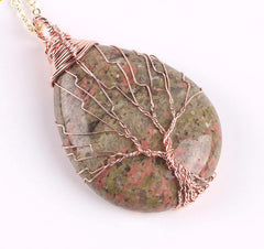 Unakite Wire Wrapped Tree of Life earthy Necklace