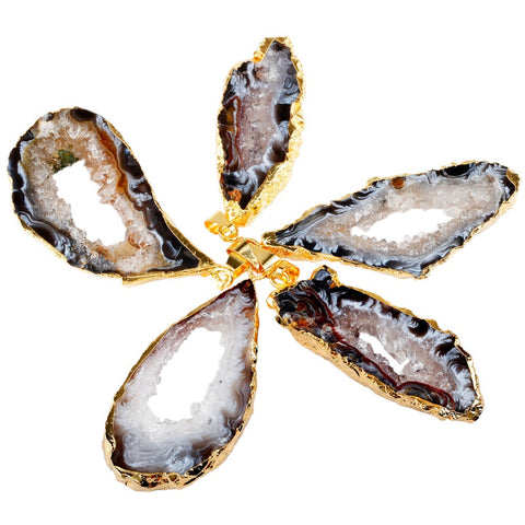 Natural Agate Geode Gemstone Slice Necklace