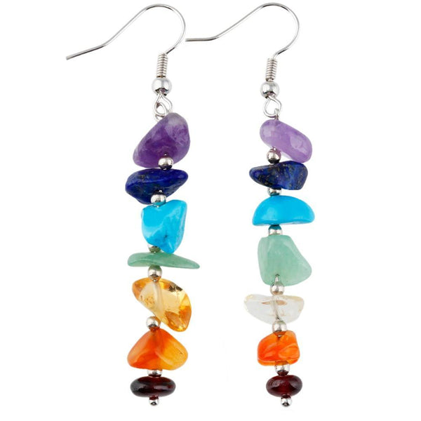 Stone Chip healing crystal 7 Chakra Earrings