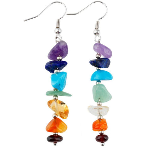 7 Chakra Stone Chip Dangle Earrings