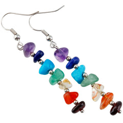 Rainbow Stone Chip healing crystal 7 Chakra Earrings