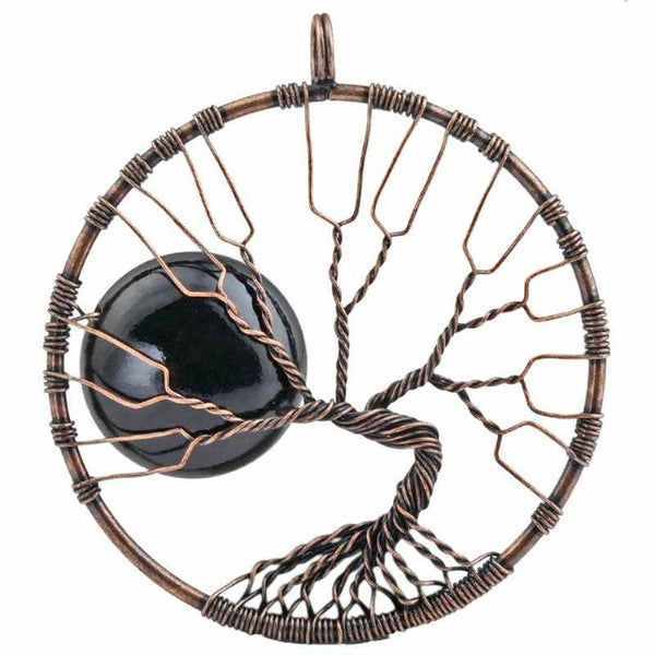 Copper Wire wrapped black obsidian tree of life harvest moon pendant