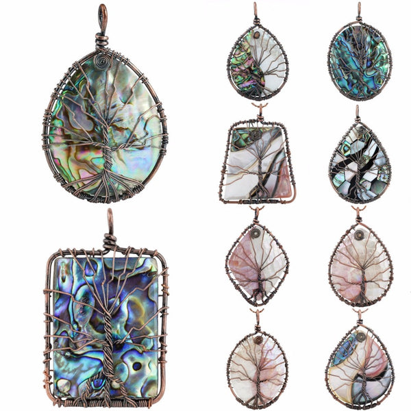 Copper Wrapped Abalone Shell Tree of Life Pendant, abalone jewelry, abalone shell jewelry, abalone necklace,