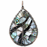 Copper Wrapped Abalone Shell Tree of Life Pendant