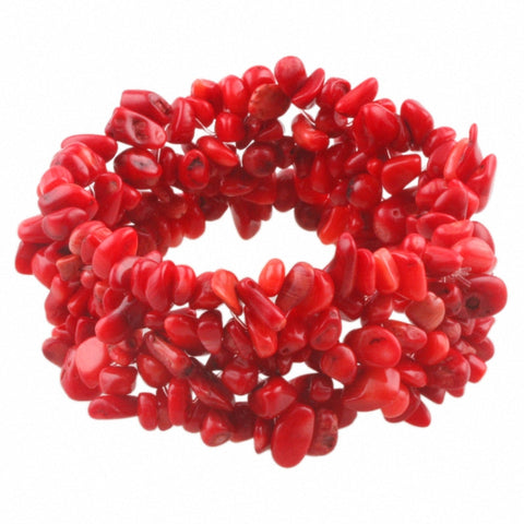 Chunky Red Coral Chip Bracelet