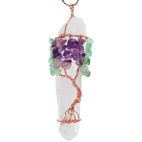 Amethyst and Green Aventurine Tree of Life Pendant