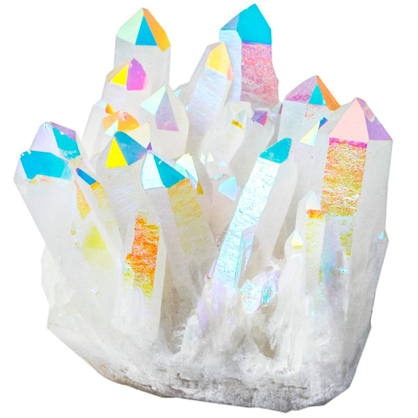 Angel aura quartz geode, decor, points