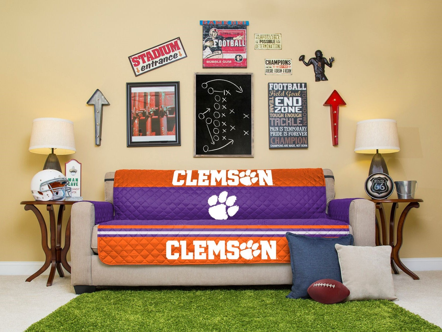 Clemson University Furniture Protectors With Elastic Straps  ~ Sofa Furniture Protectors