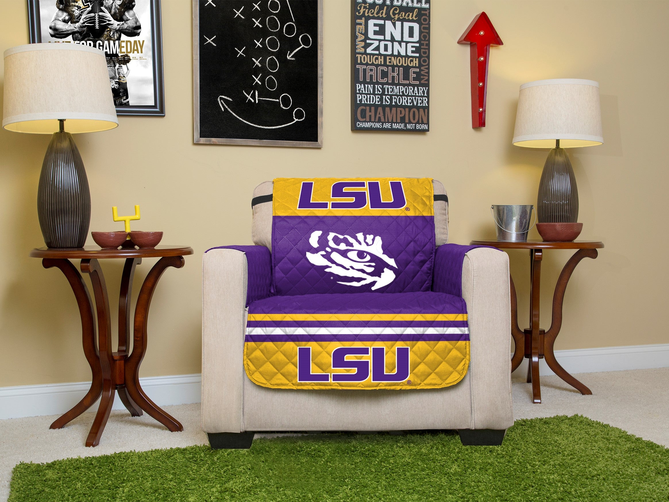 Louisiana State University Furniture Protectors With Elastic Staps
