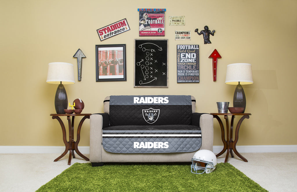 Oakland Raiders Furniture Protectors With Elastic Straps. Images / 1 / 2 /  3 / 4