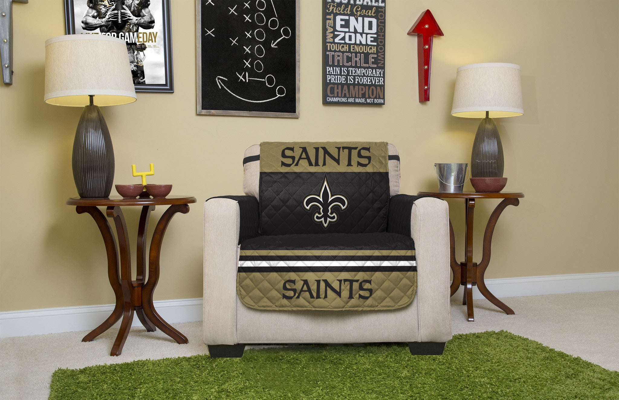 Gentil New Orleans Saints Furniture Protectors With Elastic Straps