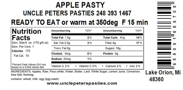 Apple Pastie - Uncle Peter's Pasties