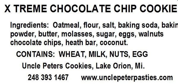 Xtreme! Oatmeal Chocolate Chip Cookies - Uncle Peter's Pasties