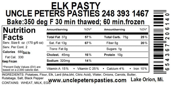 Elk Pastie - Coconut Oil - Uncle Peter's Pasties