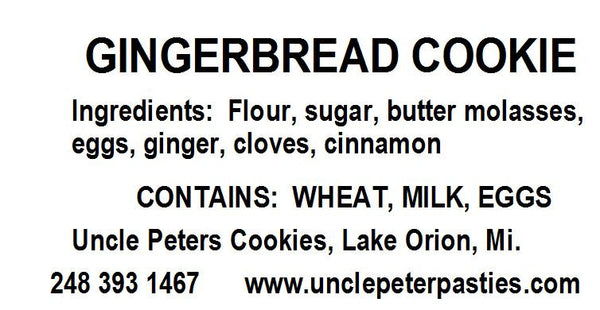 Gingerbread Cookies - Uncle Peter's Pasties