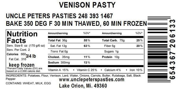 Venison Pastie - Coconut Oil - Uncle Peter's Pasties