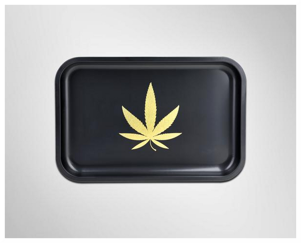 GOLD LEAF ROLLING TRAY (BLACK)