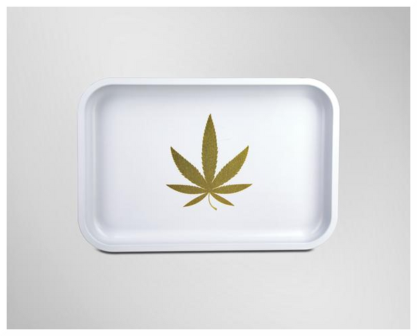 GOLD LEAF ROLLING TRAY (WHITE)