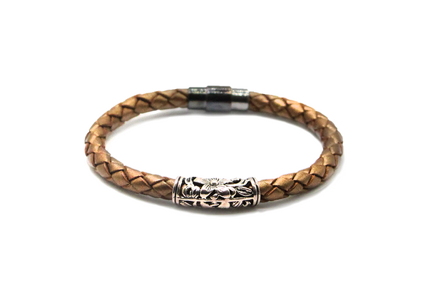 GOLD BRONZE LEATHER BRACELET