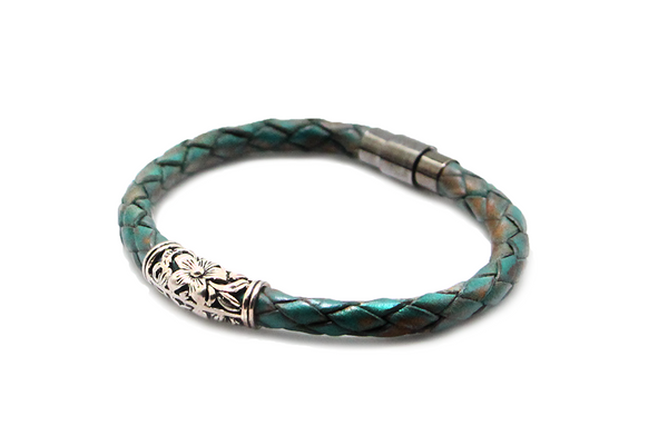 Rusted Green leather bracelet