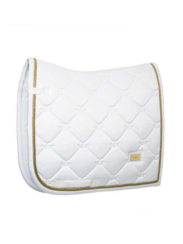 Equestrian Stockholm White Perfection Gold Dressage pad