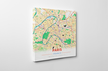 Gallery Wrapped Map Canvas of Paris France - Modern Colorful
