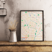 Premium Map Poster of Chengdu Sichuan - Subtle Colorful - Unframed - Chengdu Map Art