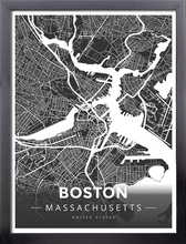 Framed Map Poster of Boston Massachusetts - Modern Contrast - Boston Map Art