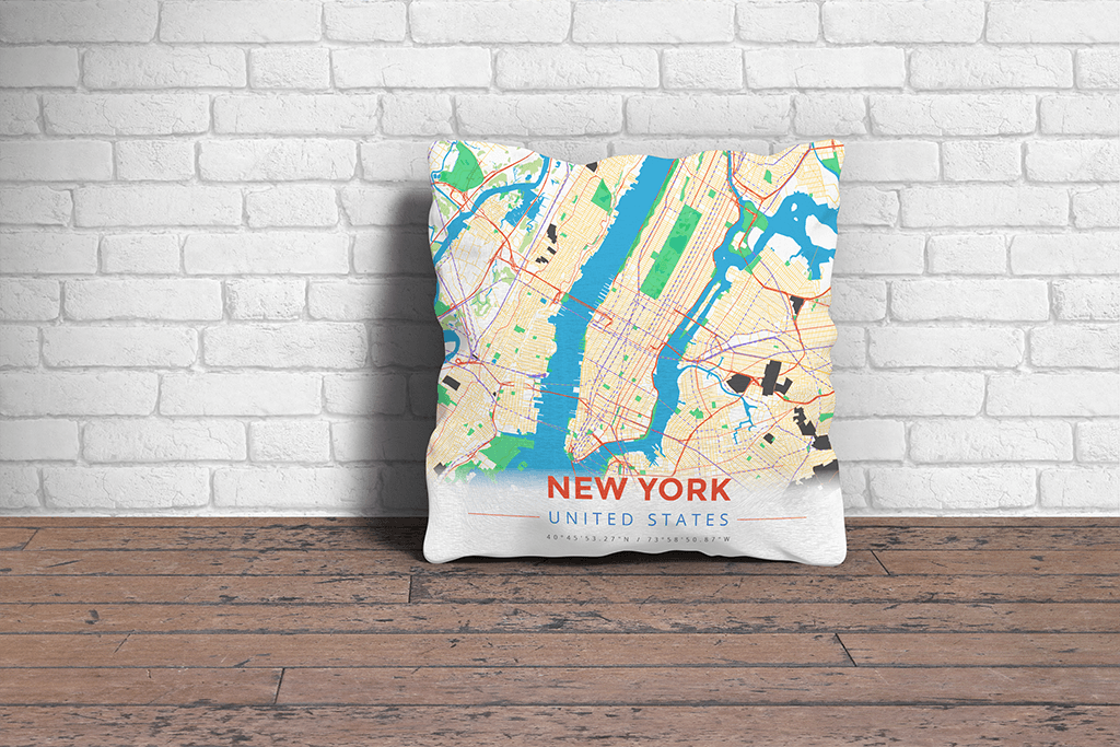 Map Throw Pillow of New York United States - Modern Colorful