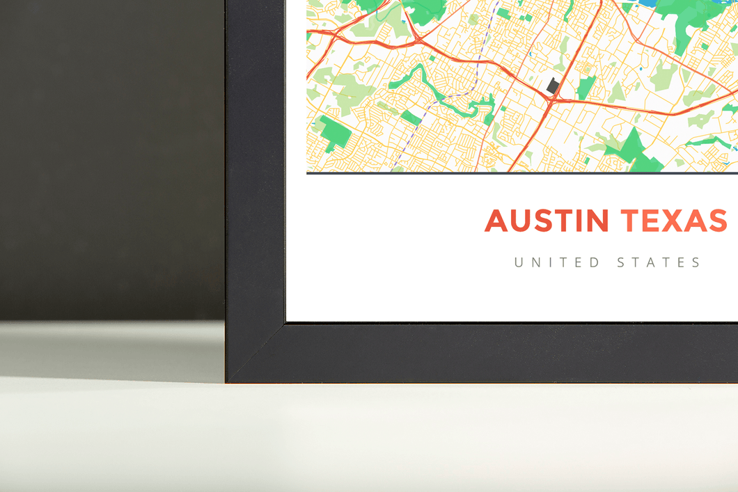Framed Map Poster of Austin Texas - Simple Colorful - Austin Map Art