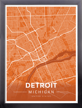 Framed Map Poster of Detroit Michigan - Modern Burnt - Detroit Map Art