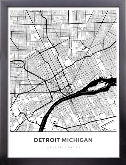 Framed Map Poster Of Detroit Michigan Map Art Travel Decor
