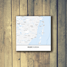 Gallery Wrapped Map Canvas of Miami Florida - Simple Ski Map - Miami Map Art