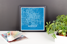 Framed Map Poster of Bangkok Thailand - Modern Blue Contrast