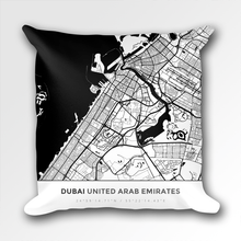 Map Throw Pillow of Dubai United Arab Emirates - Simple Black Ink