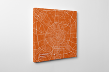 Gallery Wrapped Map Canvas of Chengdu Sichuan - Subtle Burnt - Chengdu Map Art