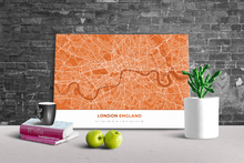 Gallery Wrapped Map Canvas of London England - Simple Burnt